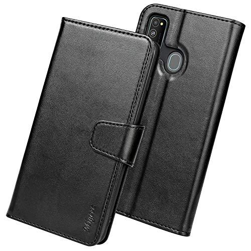 Migeec Handyhülle Kompatibel mit Samsung Galaxy M30S / M21 Leder Hülle Tasche Flip Cover Schutzhülle - Schwarz