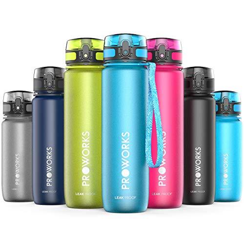 Proworks Bottiglia Acqua a Prova di Perdita   Pallone Sport Scorrimento Ideale per Corsa, Ciclismo & Escursionismo   Bottiglia per Bibite in Plastica Tritan Senza BPA - 1 Litri (36 Once) - Azzurro