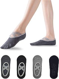 Sebami Calcetines de Yoga para Mujeres, Calcetines de Yoga 4 Pares Calcetines Antideslizantes para Yoga Pilates Ballet Bar...