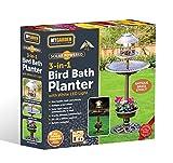 My Garden Solar Powered Garden Bird Bath with Planter - Antique Brass Effect Solar Water Features for the Garden