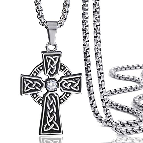 Elfasio Jewelry Stainless Steel Celtic Cross Pendant Necklace Mens Boys Chain 20inch