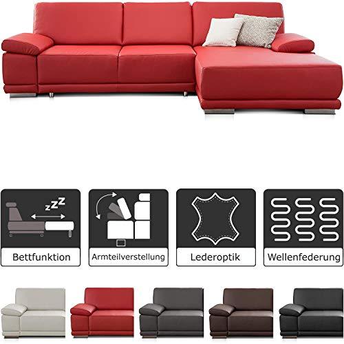 CAVADORE Ecksofa Corianne mit Schlaffunktion / Bettsofa in L-Form im modernen Design, inkl. Armteilverstellung und Longchair / 282 x 80 x 162 / Kunstleder, rot