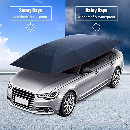 LLSS Autozelt Gefalteter Autoschutz Sonnenschirm, Anti-UV-Baldachin, halbautomatischer heißer Sommer-Autoschirm, über tragbarer beweglicher Carport, beweglicher Carport-Baldachin für Ca