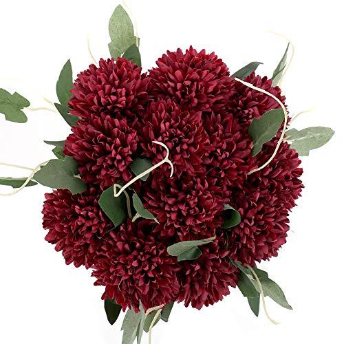 You&Lemon 12 Künstliche Hortensien Blumen, 20 Zoll Künstliche Seide Pompon Chrysantheme Kugel Blumen, Silk Kunstblumen Hortensie für Hochzeits Dekoration(Rot)