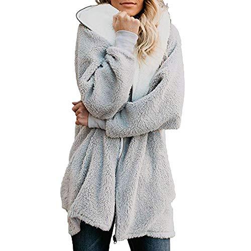 Womens Wool Coats Lapel Plush Jacket Oversized Jacket with Pockets Womens Winter Coats(Gray,Small)