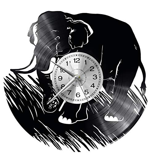 WoD Elefant Wanduhr Vinyl Schallplatte Retro-Uhr groß Uhren Style Raum Home Dekorationen Tolles Geschenk Uhr
