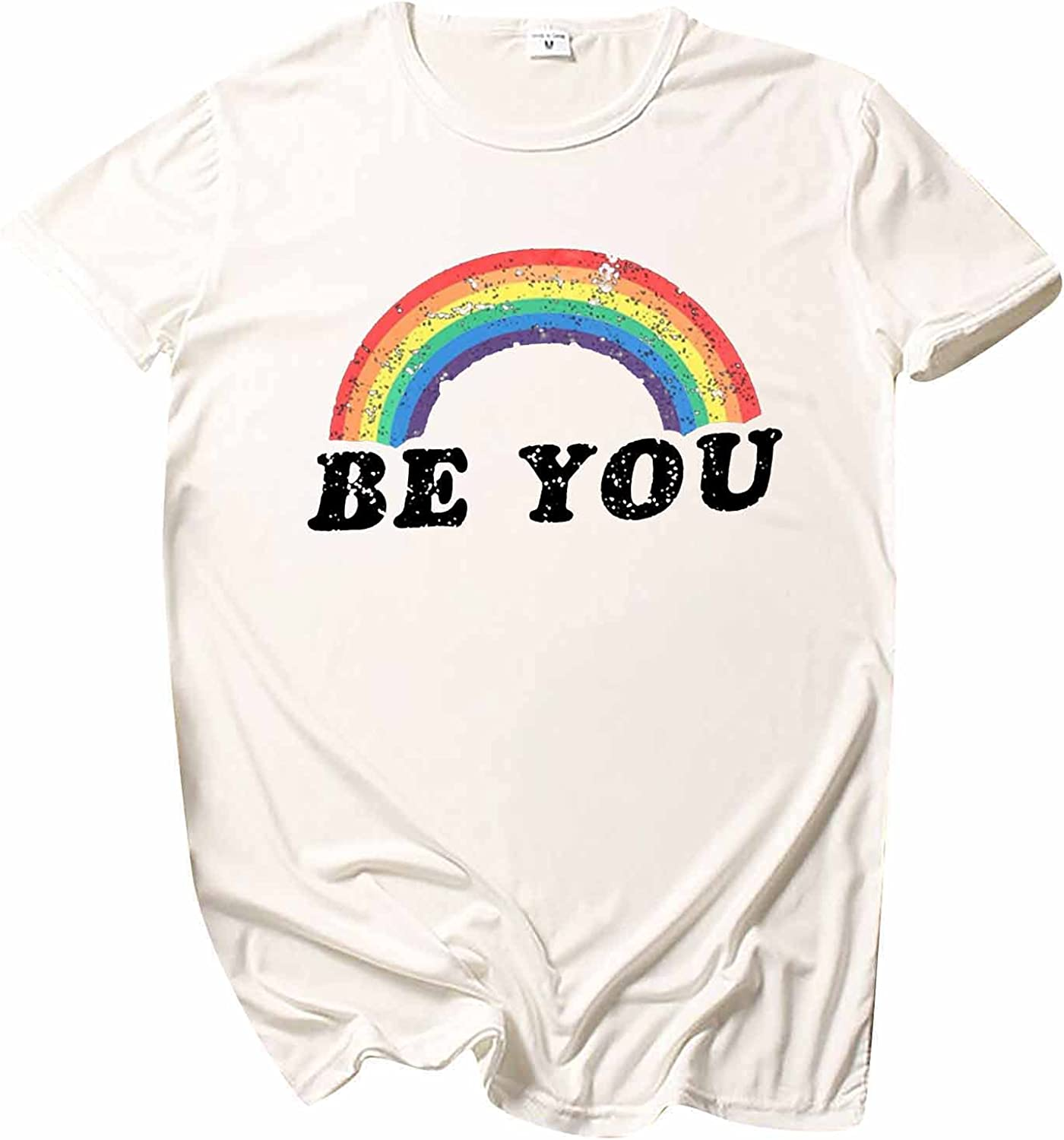 Women Rainbow Flag Tops Tunic Summer Be You Letter Round Sleeve Short Sleeve Basic Tee Shirt Blouse Pullover