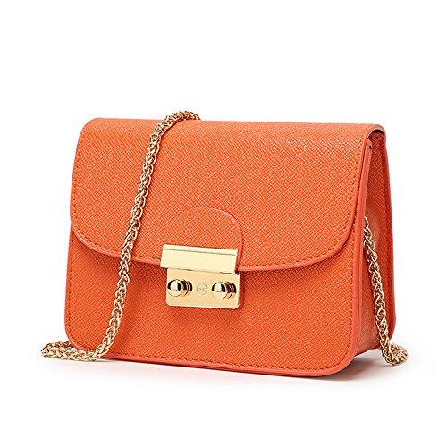 CHIKENCALL Damentasche Kleine Damen Umhängetasche Citytasche Schultertasche Handtasche Elegant Retro Vintage Tasche Kette Band -Orange