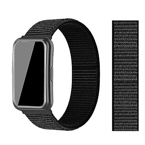 Niboow Correa Compatible con Huawei Watch Fit, nailon Ajustable Deportiva Repuesto Correa Deportiva Compatible con Huawei Watch Fit-Negro