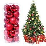 24 piezas Bolas de Navidad Adornos de bola de Navidad Inastillables Brillante árbol de Navidad...
