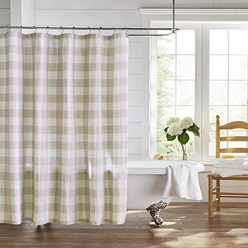 "Elrene Home Fashions Farmhouse Living Buffalo Check Fabric Shower Curtain, 72""x72"", Tan/White"