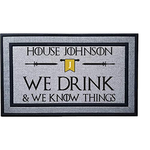 Personalized We Drink and We Know Things Heavy Duty Door Mat, Indoor/Covered Entry Custom Bend The Knee Doormat