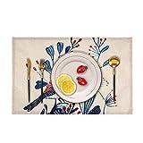 HERCHR Tovagliette Colazione Lavabili per Tavolo Tovagliette da Fattoria da Pranzo Decor, Stoffa di Lino Lavabile Resistente,44×28 cm