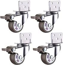 WSWJ Casters 4 PCS Castors RubberWielen Universal Swivel Brake 1, 5 inch 2 inch Silence Furniture for Crib Trolley Flower ...