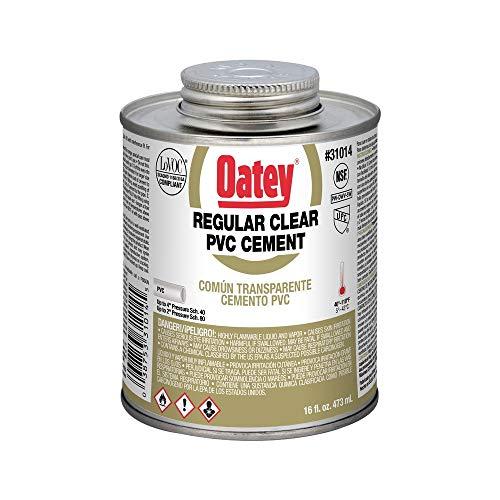 Oatey 31014 PVC Regular Cement, Clear, 16-Ounce