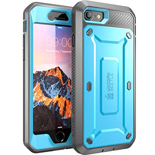 SUPCASE Unicorn Beetle Pro Series Case Designed for iPhone 8 Case, Full-Body Rugged Holster Case with Built-In Screen Protector for Apple iPhone 7 2016 / iPhone 8 (2017 Release) (Blue)