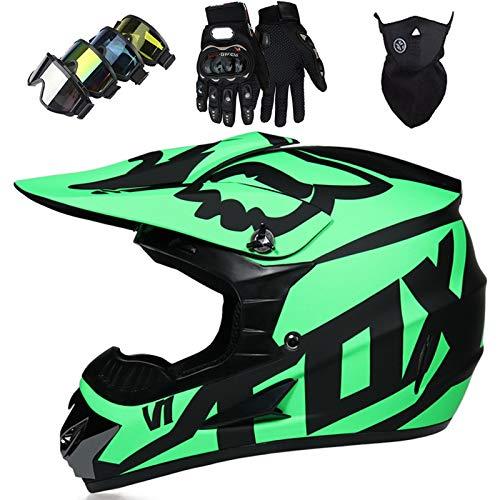 OTBKNB Casco Motocross, Casco Moto Todoterreno para Niños, Aprobado por Dot Casco Rally para Hombres Mujeres con Gafas Máscara Guantes, Casco Protección Junior con diseño Fox, Verde Negro Mate