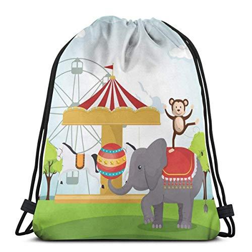 Kordelzug Rucksack Unisex Tasche für Fitnessstudio Reisen, Affen und Elefanten in einem Zirkus Themenpark Festliche Kostüme Details Feier