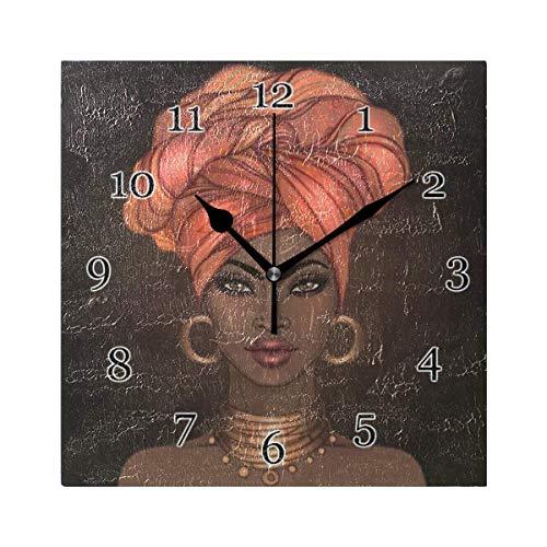 Reloj de Pared con patrón de Mujeres africanas, Reloj de Pintura de Arte Cuadrado silencioso sin tictac para decoración de la Escuela de la Oficina en casa