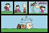 Pyramid America Peanuts Football Charlie Brown and Lucy Van Pelt Playing Kicking Football Funny Cool Wall Decor Art Print Poster 36x24