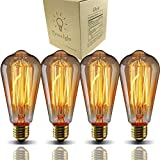 E26 Edison Bulbs, Bravelight Antique Vintage Light Bulbs, T64 40W 2700K Warm Dimmable, Squirrel Cage Filament Edison Light Bulb for Table Lamp Restaurant Home Office Light Fixtures Decorative 4 Pack
