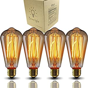 Vintage Light Bulbs,Bravelight Filament Light Bulbs,Edison Bulbs ST64 E26 40W Dimmable,Squirrel Cage Filament Edison Lihgt Bulb for Restaurant Home Office Light Fixtures Decorative