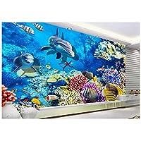 フローリングカスタム壁画イルカコーラル3D壁紙リビングルームベッドルームバスルーム粘着塗装-280x200cm/110x79in