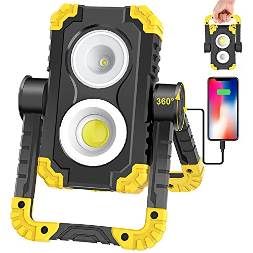 Samyoung Rechargeable Work Light, 3000 Lumen LED Work Light with Spot & Flood COB, 360° Rotating Mechanic Light IP65 Waterproof for Job Site Lighting Outdoor Camping Hiking Emergency Car Repairing