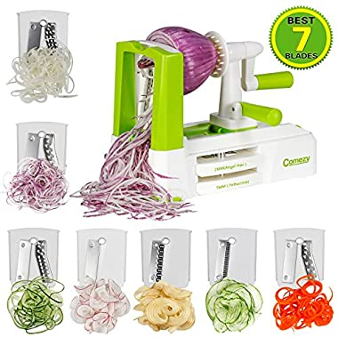 7-Blade Spiralizer-Vegetable Spiral Slicer, 2018 Latest, Strongest & Heaviest Duty. Best Veggie Pasta Maker, Perfect for Low Carb/Paleo/Gluten-Free Meals, Powerful Suction Base.Salad Utensil-by Comezy