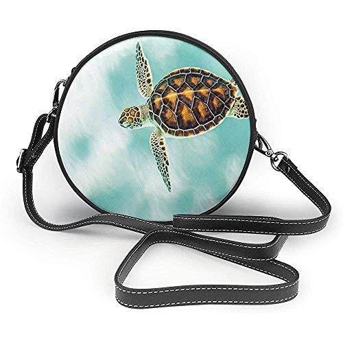 TURFED PU Runde Umhängetasche Cute Turtle Cute Baby Turtle Schwimmen in abstrakten Gewässern Serene Natur Bild Seafoam Pale Coffee Umhängetasche