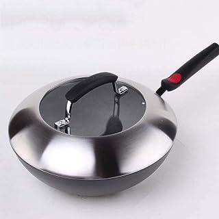 XXDTG Poêles à frire Wok antiadhésif durs avec fond plat de type Cooks et couvercle