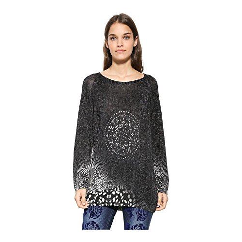 Desigual Jers_pullover - Suéter para Mujer, Negro, X-Small