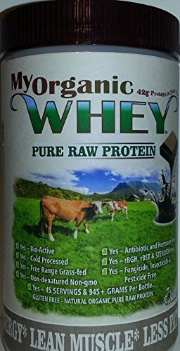 MyWHEY Grass-fed Organic Raw Whey Protein - Bio-Active Cold Process Grade-A Milk Hormone-Free Non-GMO Organic Whey Concentrated Powder Chocolate 1lb = 945gr Protein = 45 Serving @ $1.11 by Natur-Pur