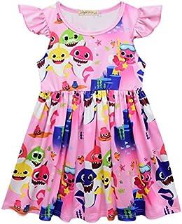 Toddler Girls Baby Shark Sleeveless Party Dress Casual Dresses 3-8 Year
