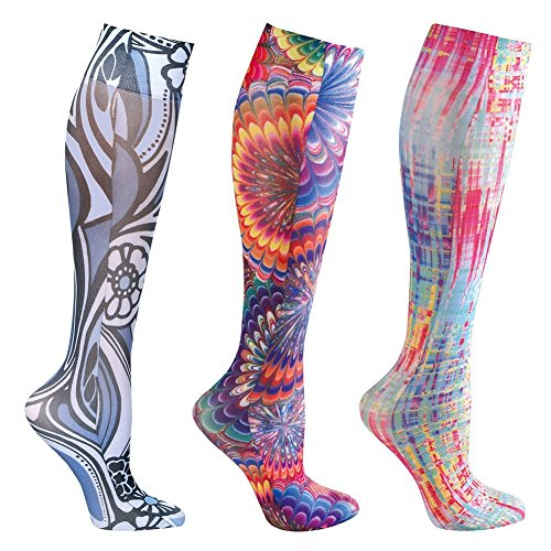 Mild Compression Wide Calf Knee High Support Socks - Bright Multi - 3 pair
