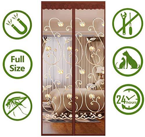 Hordeur, uit muggenhor, zonder boren, afdichting van boven naar beneden automatisch, weg te houden van muggen Gordijn voor schuifdeuren voor balkon Woonkamer, bruin