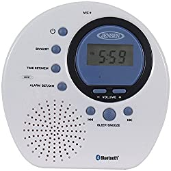 Jensen JWM-160 Water-Resistant Digital AM/FM Bluetooth Shower Clock Radio, Blue