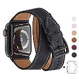 WFEAGL コンパチブル Apple Watch バンド, は本革を使い, iwatch series 5/4/3/2/1 レザー製,Sport/Edition向けのバンド交換ストラップです コンパチブル アップルウォッチ バンド (42mm 44mm, 二重巻き型 ブラック バンド+黒 アダプター)