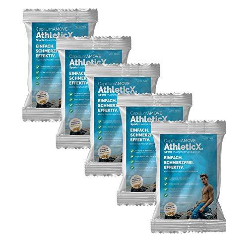 5er Pack (5x300g) Enthaarungscreme Intim als Pulver - Capillum AMOVE AthleticX für Männer Frauen ohne synth. Zusatzstoffe mit Pflanzenteilen für sanfte Anwendung ohne...
