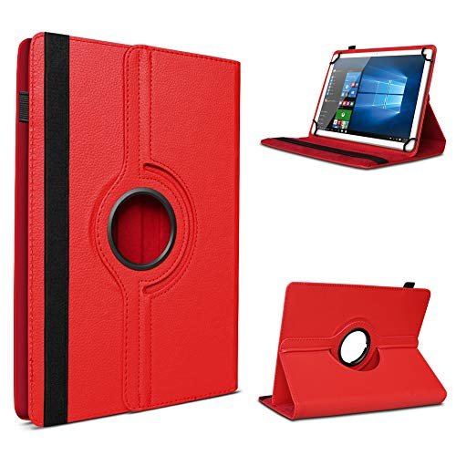 UC-Express Tablet Schutzhülle für 10-10.1 Zoll Tasche aus hochwertigem Kunstleder Hülle Standfunktion 360° Drehbar Universal Case Cover, Farben:Rot, Tablet Modell für:Asus Zenpad 3S 10