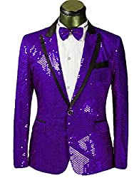 Purple Splendid Sequins Lapel Tuxedo Jacket