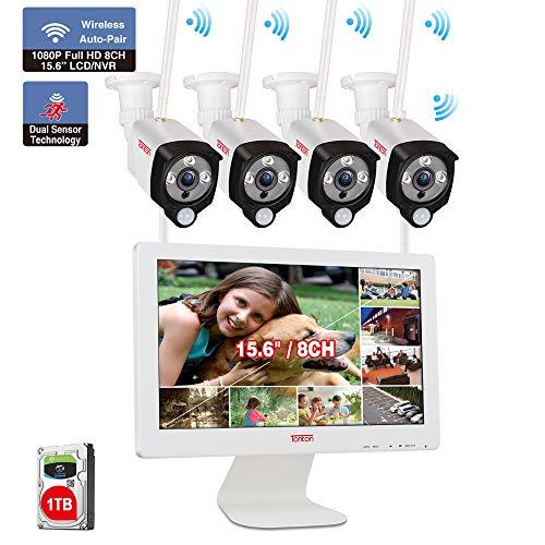 【All-In-One Audio Set】 Tonton 1080P Audio Überwachungskamera Set mit Monitor WLAN System 15.6 Zoll LCD-Monitor 1TB Festplatte 4 * 1080P Wireless 2.0MP Überwachungskameras PIR Sensor für Innen Außen
