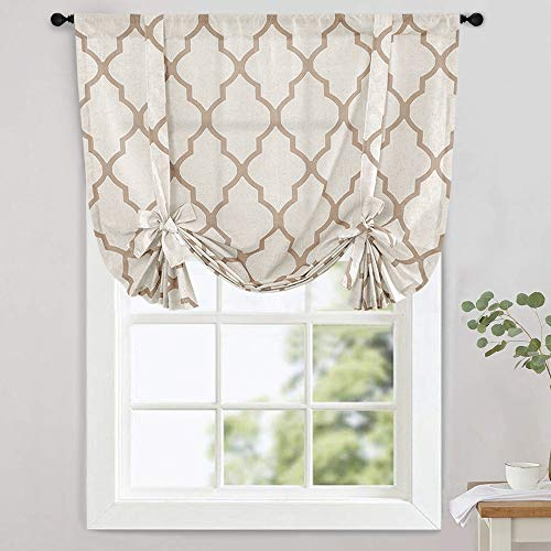 "jinchan Moroccan Printed Tie Up Shade Curtains Rod Pocket Drapes Multicolor Medallion Flax Living Room's Window Curtain 1 Panel 45"" Taupe"