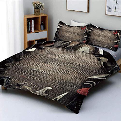 Juego de funda nórdica, herramientas sucias sobre tabla de madera, fabricación manual, taller de reparación, decorativo, juego de cama decorativo de 3 piezas con 2 fundas de almohada, marrón gris rojo