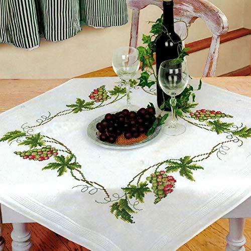 Kamaca Stickpackung Tischdecke Wein Kreuzstich vorgezeichnet aus Baumwolle Stickset mit Stickvorlage (Mitteldecke 80x80 cm)
