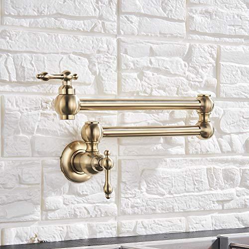 Senlesen Brushed Gold Pot Filler Folding Stretchable Pot Filler Double Joint Swing Arm Kitchen Faucet Wall Mount