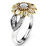 Auwer Rings, Clearance! 2-in-1 Womens Vintage White Diamond Silver Engagement Wedding Band Ring Set (US Size 10, Sliver)
