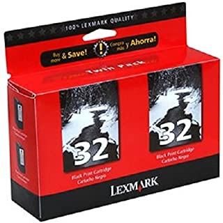 Lexmark 18C0533 32 P15 P4330 P6250 P6350 X3330 X5250 X7170 X7300 Ink Cartridges (Black, 2-Pack) in Retail Packaging