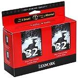 Lexmark 18C0533 32 P15 P4330 P6250 P6350 X3330 X5250 X7170 X7300 Ink Cartridges (Black, 2-Pack) in Retail Packaging