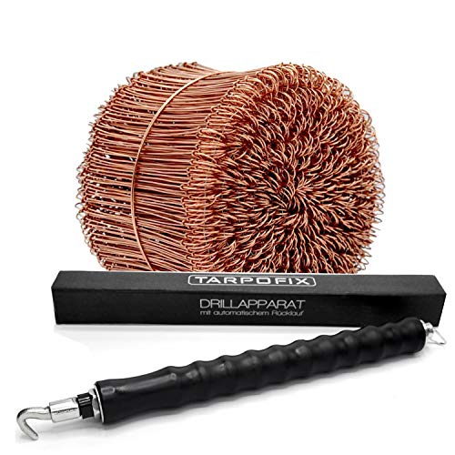 Tarpofix© Drillapparat Driller + Rödeldraht 1,0 x 100 mm (250 STK.) - hochwertiges Set aus Drahtbinder Rödelzange & Bindedraht Sackverschluss - verkupferter Drahtverschluss Ösendraht Drill Draht